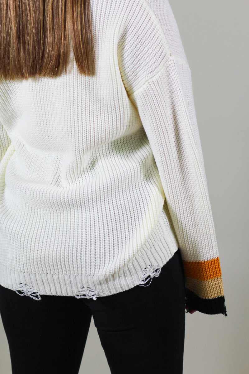Distressed V-Neck Sweater