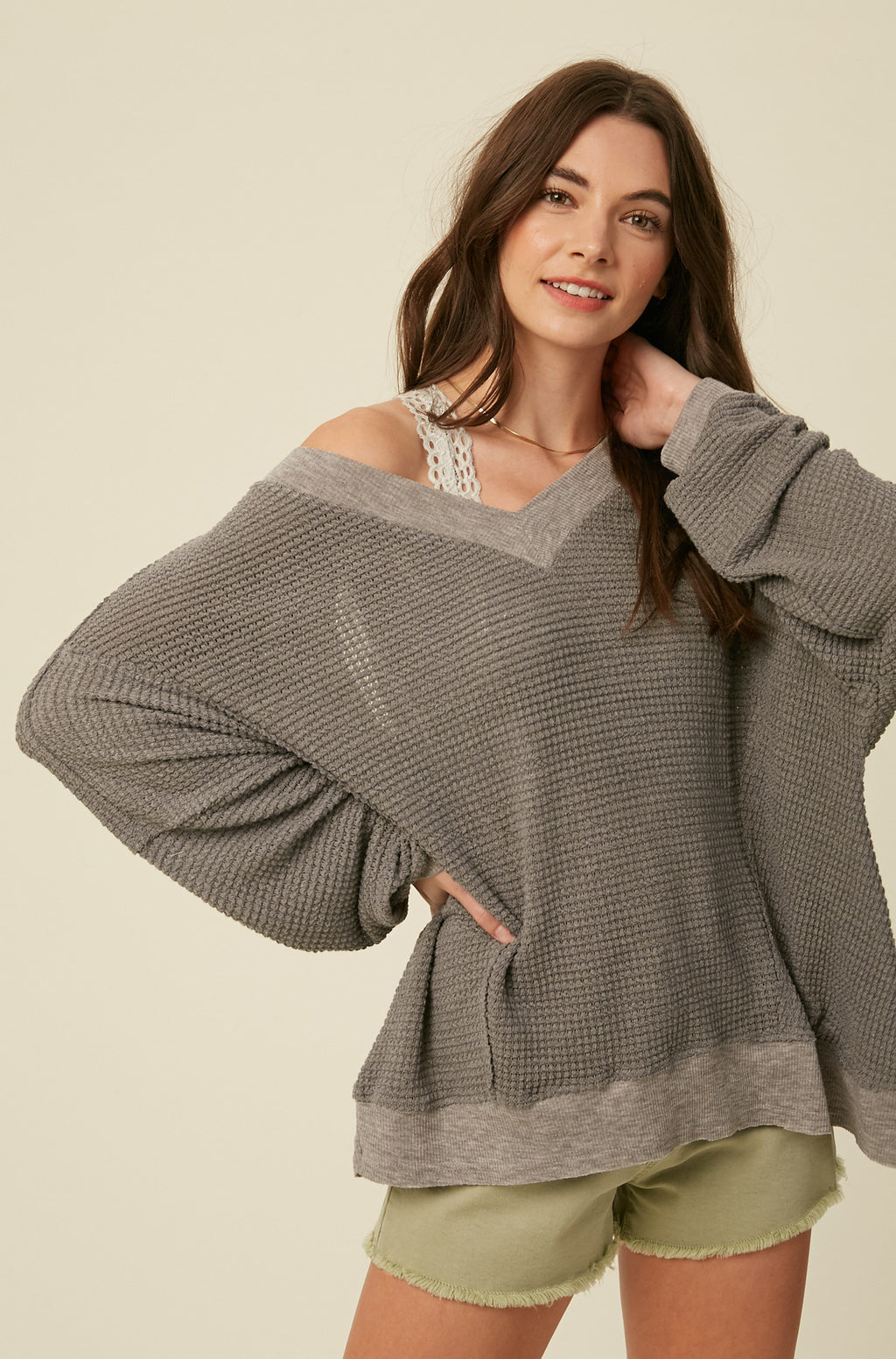 Waffle Texture Open Back Top