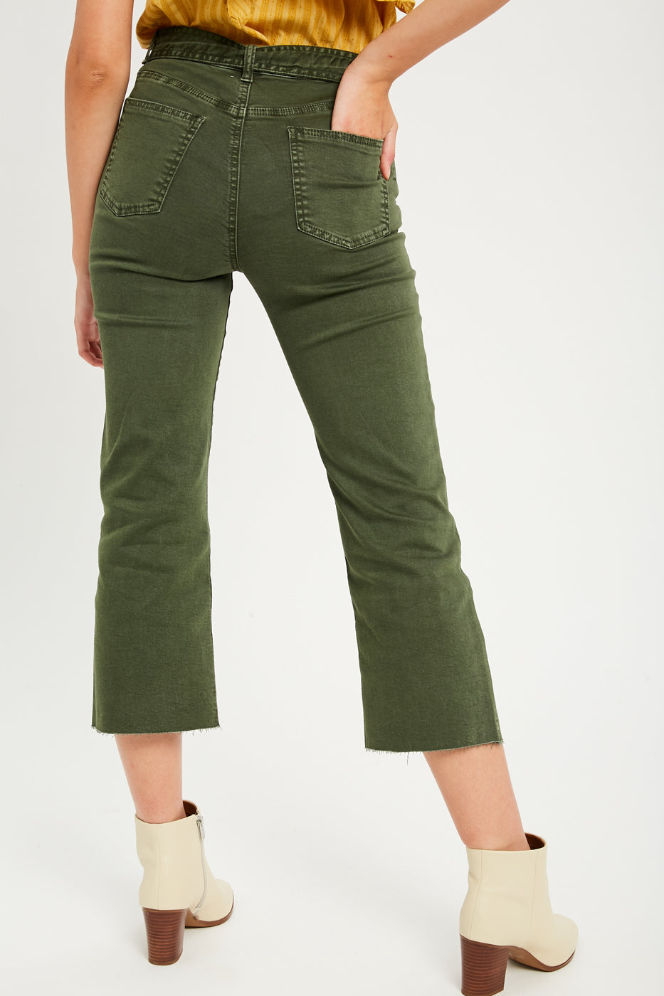 Garment Washed Crop Jean Pants