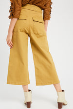 Washed Crop Pants With Paper Back Waist