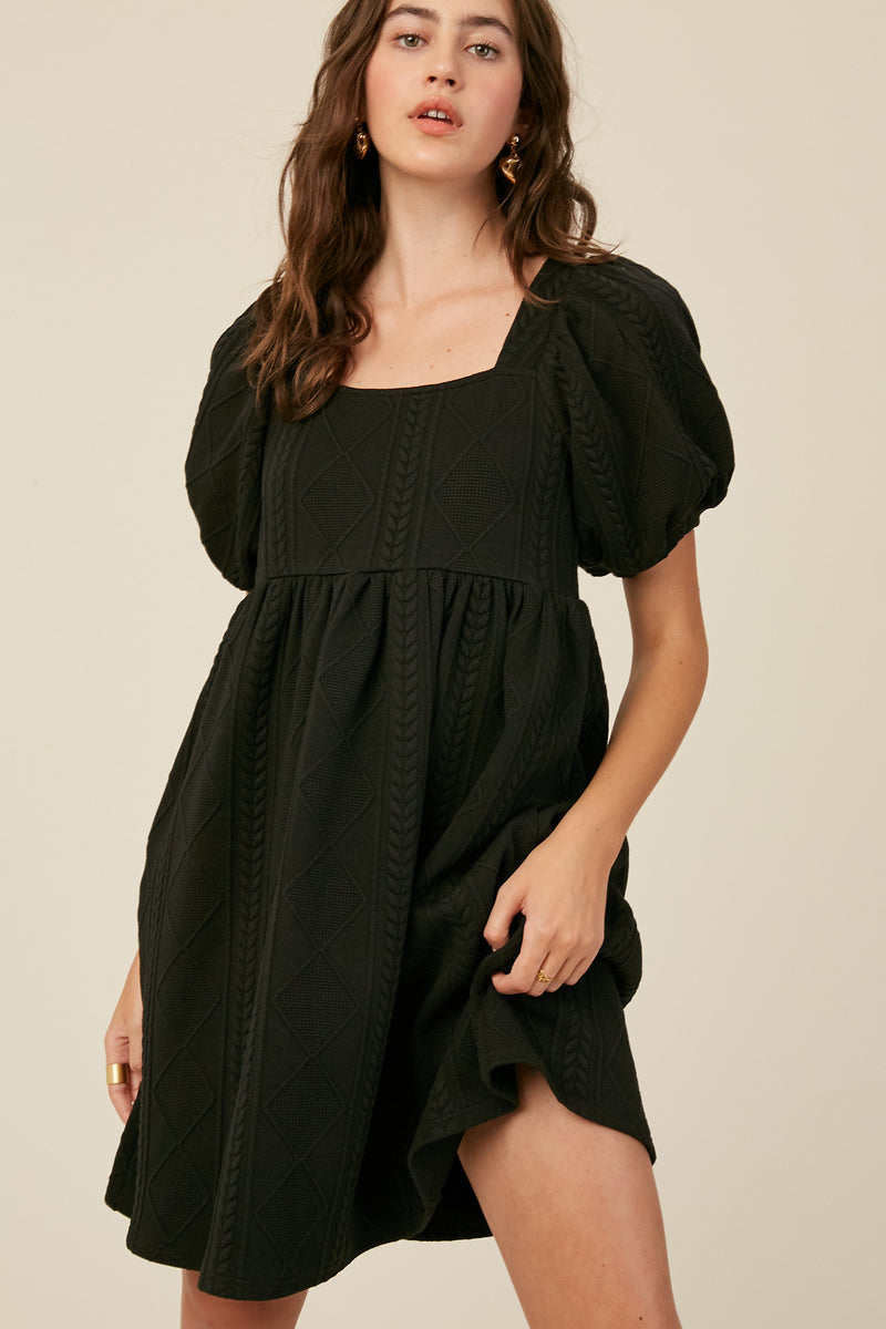 Puff Sleeves Cable Knit Babydoll Dress