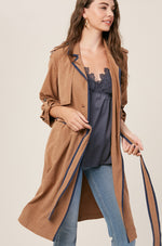 Textured Long Layered Trench Coat