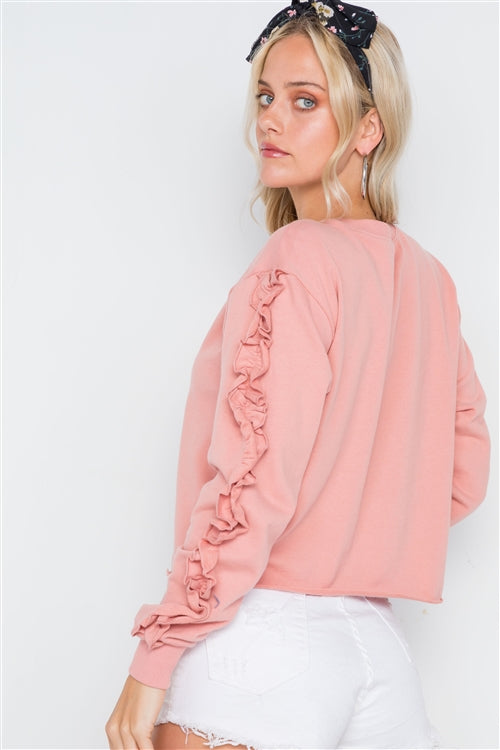 Long Sleeve Ruffle Pullover