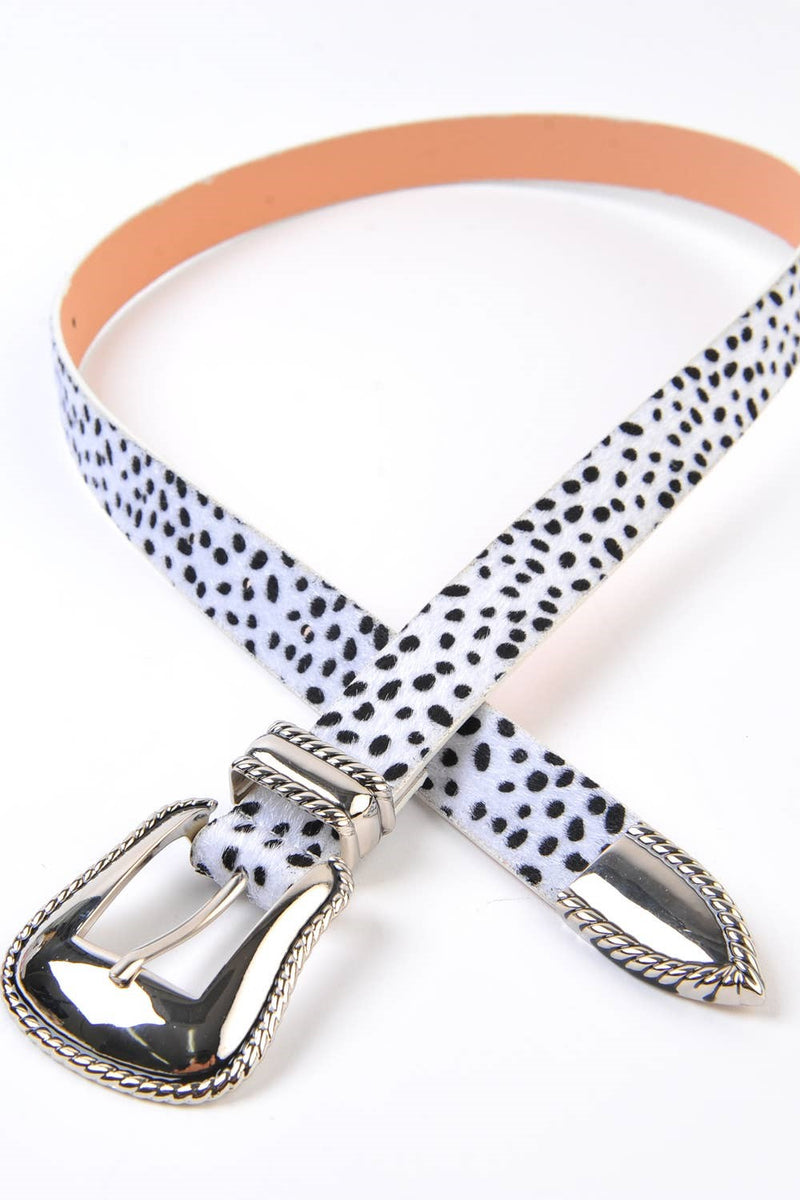 White Animal Print Belt