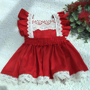 Lacey Pinafore in Red with Vintage Inspired Off White Lace