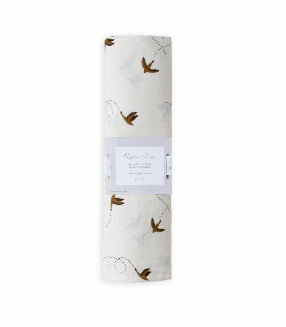 Rylee and Cru Organic Swaddle in Sparrow