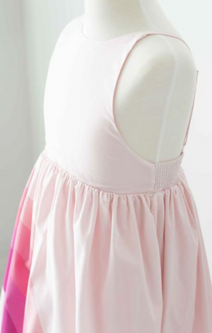 Pleiades Designs Pink Rainbow Arc High Low Dress