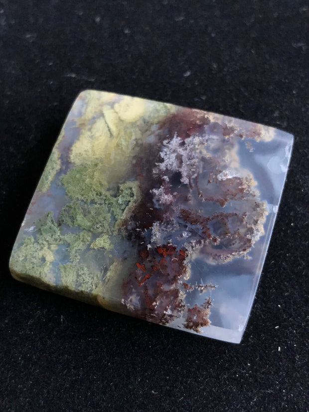 Beautiful Moss Agate Cabochon - 27.1 x 28.57 x 5.98mm Rectangle - Indonesia
