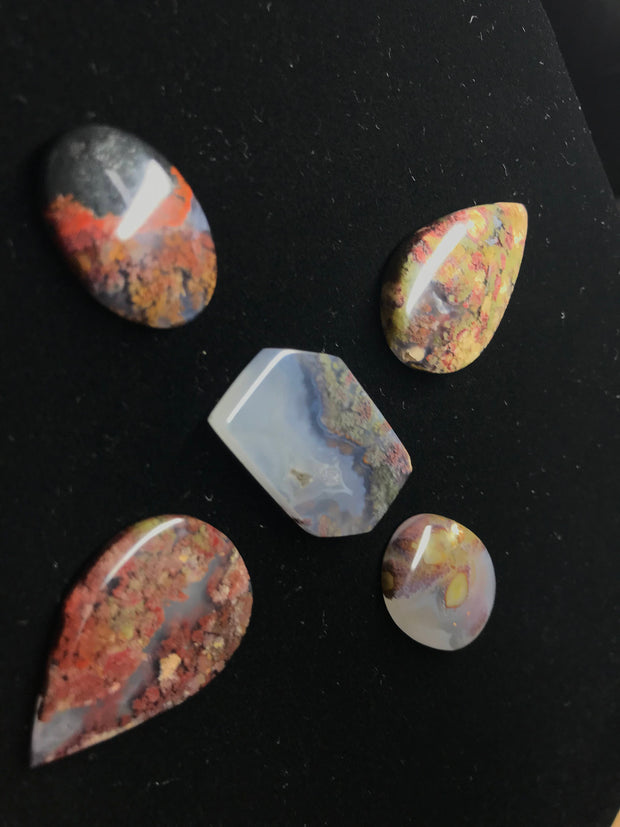 Beautiful Moss Agate Cabochon Parcel (5 pieces) - Best Deal!
