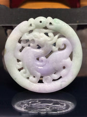 Dragon and Snakes Carving In Bi-Colored Burmese Jadeite