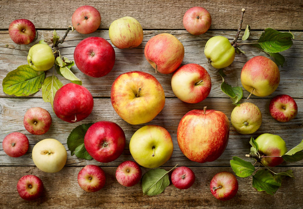 Apples on wood, Variety of Apples, Apples with leaves