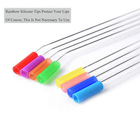 Skinny Clear Glass Straws, Reusable Drinking Straws, Pack of 8 with Cleaning Brush and Silicone Tips
