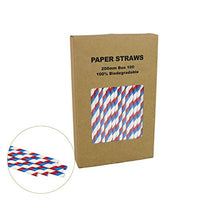 100 Red White & Blue Straws