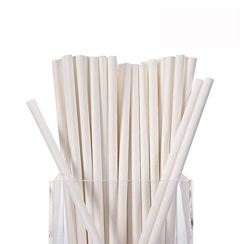 White Paper Straws,300 Pack 100% Biodegradable,7 3/4 inches Top Quality Drinking Straws (White)