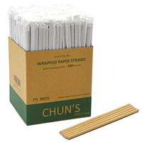 "Dye Free, 400 Straws Bulk, Kraft Brown Individually Wrapped, 7.75""x0.24"" (197mmx6mm)"