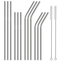 12-Pack Stainless Steel Reusable Metal Straws