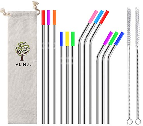 Go Turtle! Stainless Steel Metal Straws with Silicone Tips