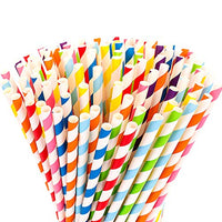 Rainbow Stripe Paper Straws
