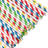 100 Party Straws Rainbow Stripe Paper Straws 5 colors
