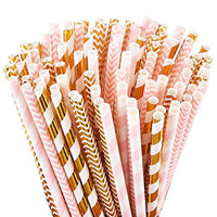 Earth-friendly paper straws pink and gold combo