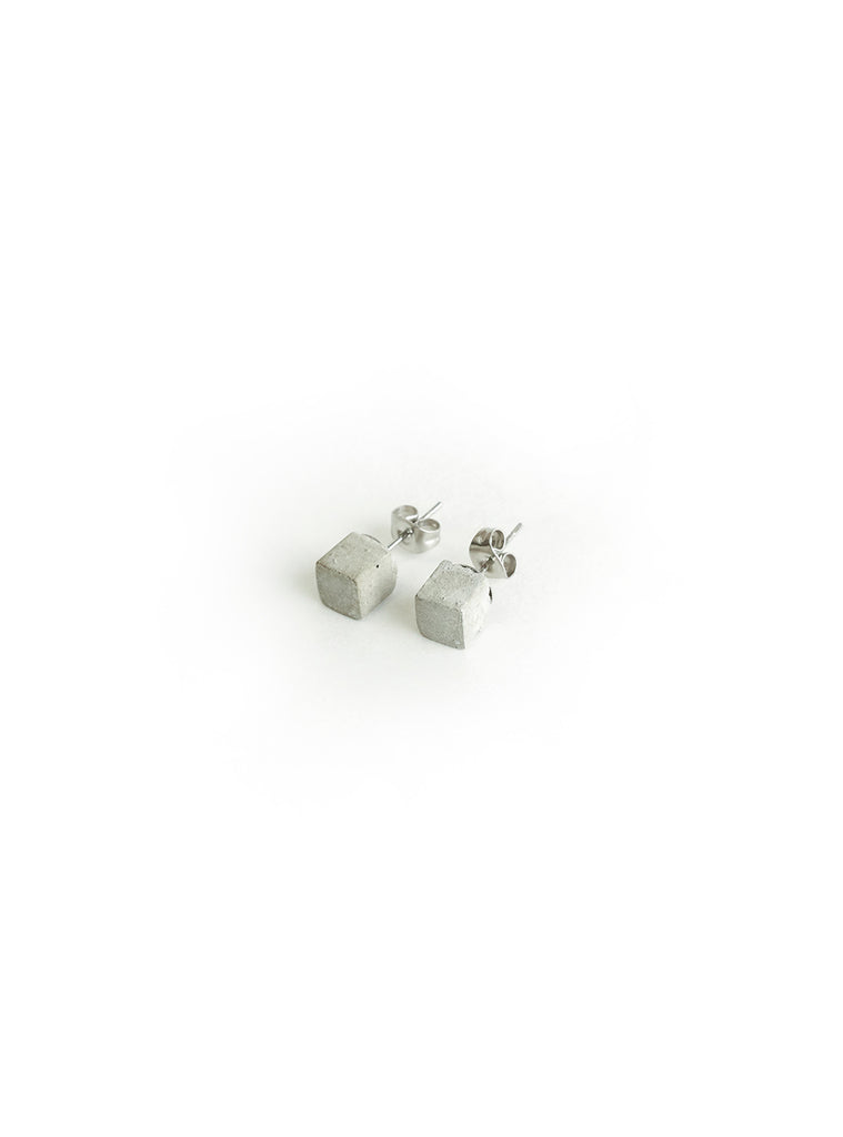 Square Cube Concrete Stud Earrings