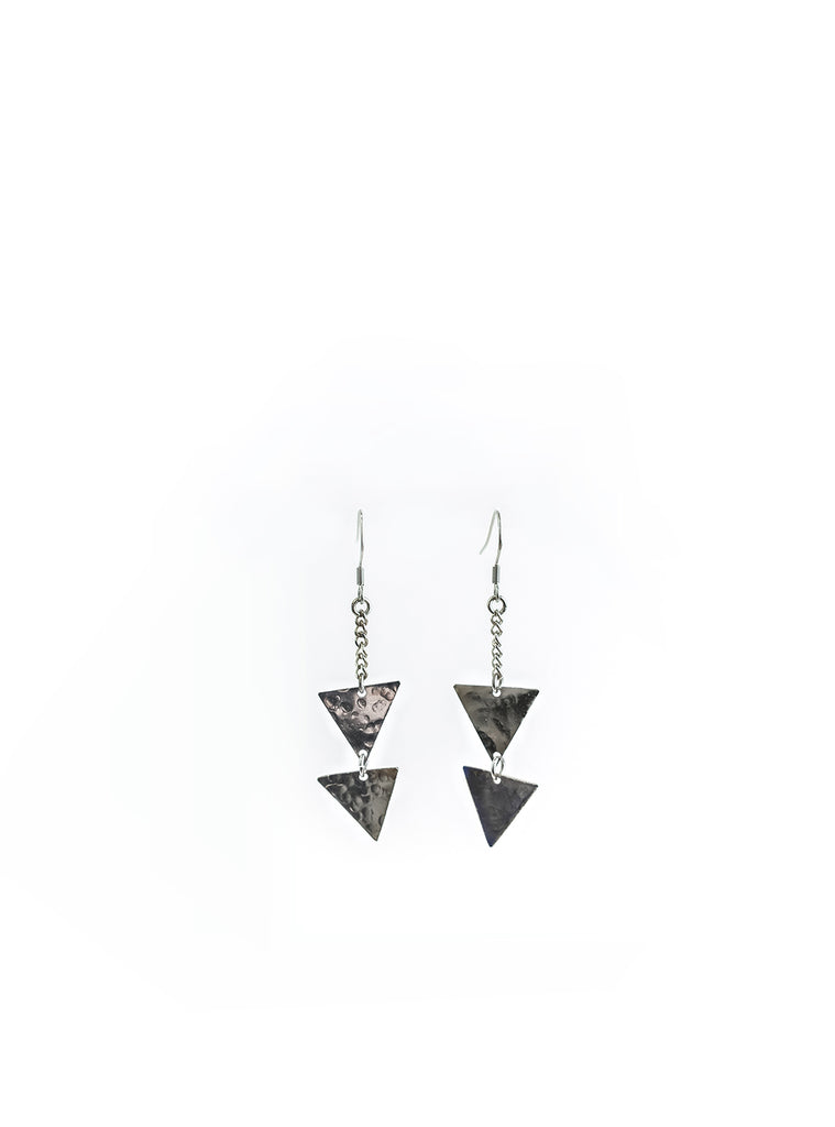 Triangle Hammered Brass/Silver Earrings