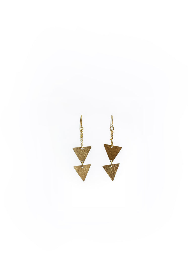 Triangle Hammered Brass Earrings