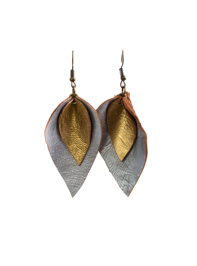 Leather Leaf Earrings Silver/Gold