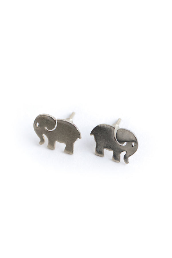 Elephant Earrings Silver Brass