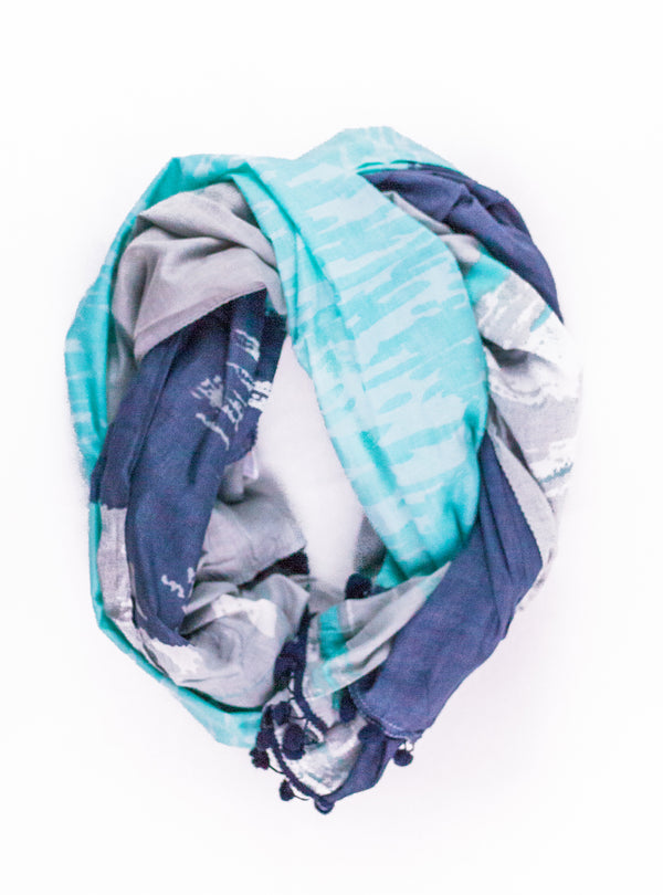 Blue and Grey Pom Pom Scarf