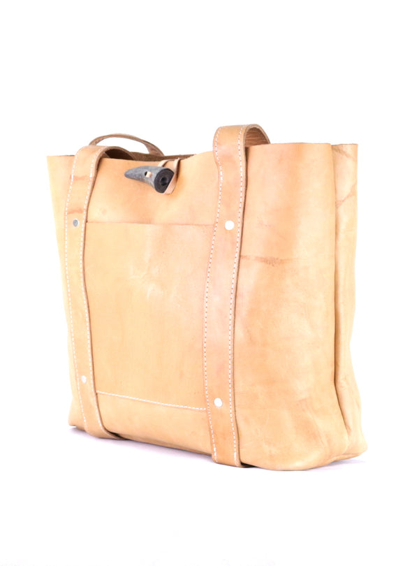 Raw Leather Tote Natural