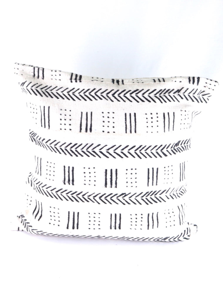 African Mud Cloth Pillow Cover White