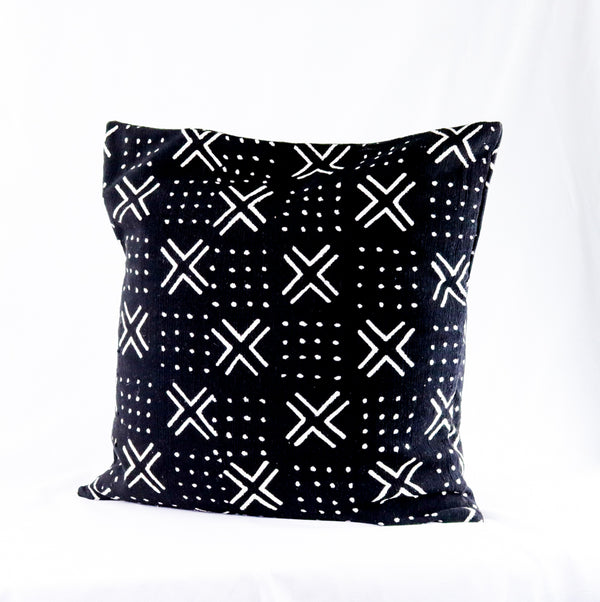 African Mud Cloth Pillow Cover Black