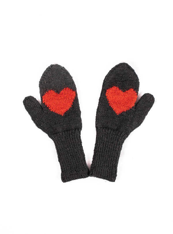 Wool Heart Mittens