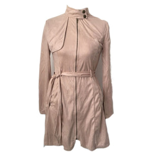 Women's Suede Trench Coat Casual Pocket Long Overcoat