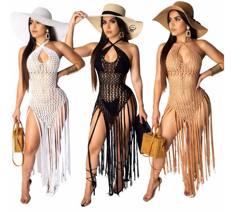 Knitted Hollow Out Beach Dress Women V neck Halter Backless Tassel Maxi Dresses