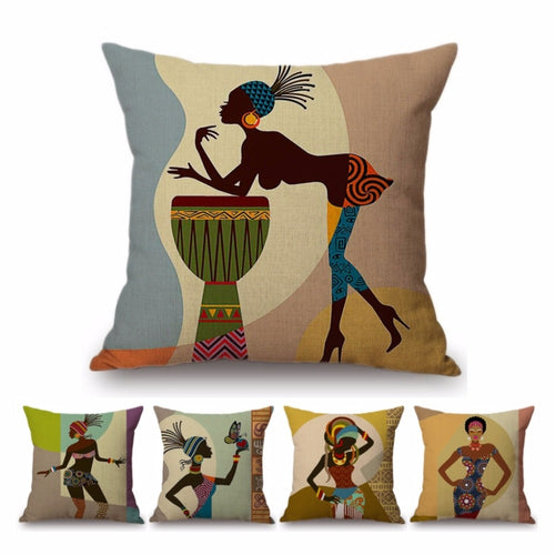 African Lady Decorative Throw Pillows Cases