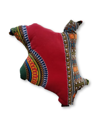 Custom Country Map Dashiki Pillow Red