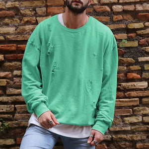 Long Sleeve Casual Men Sweatshirt Hoodies Round Neck Loose Pull Over