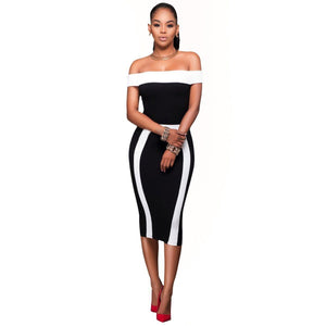 Off Shoulder Bodycon Dress Women Casual Bandage short Sleeve Party Dress
