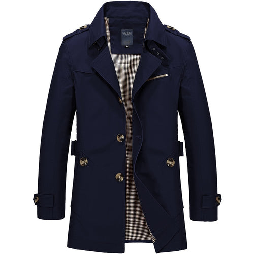 Men Fashion Trench Coat Brand Casual Fit Overcoat Jacket Outerwear