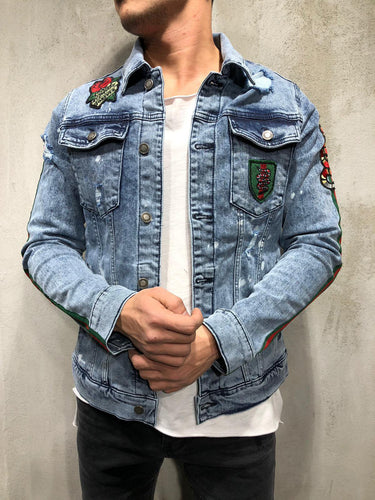Snake Patch Embroidery Denim Jacket  4038