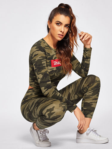 Camo Crop Top & Pants Set