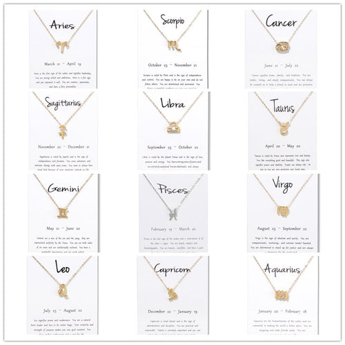 Birthday Gifts 12 Zodiac Pendant Necklace With White Card