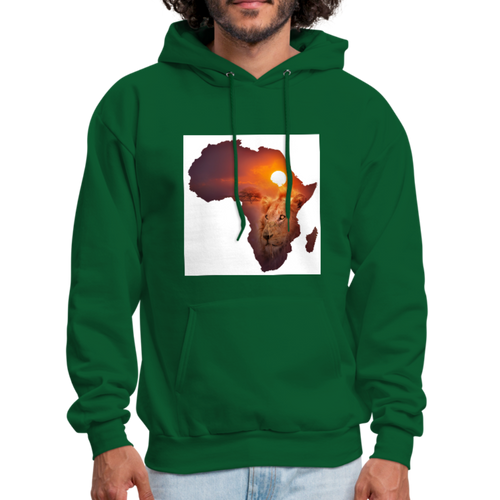 African Lion Map Men's Hoodie - forest green