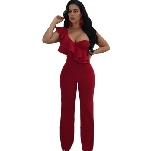 Woman Overalls Sexy Night Club Ruffles One Shoulder Jumpsuits