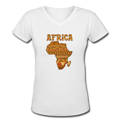Women's V-Neck T-Shirt Africa - white