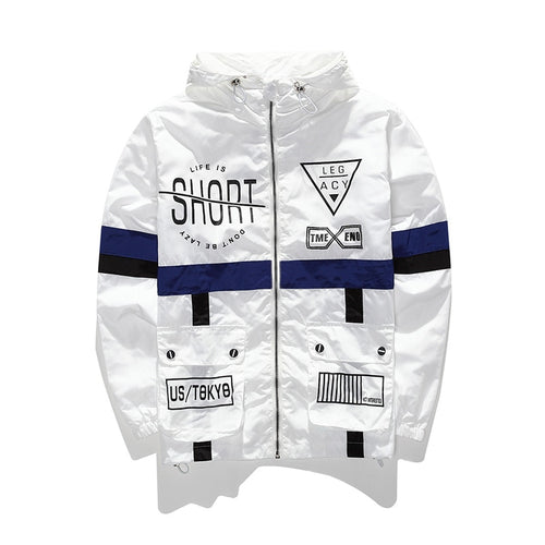 Men's Jackets Streetwear Windbreaker Hip Hop Hooded Coat