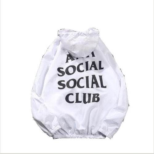 Anti Social Club Hooded Black Windbreaker Streetwear Coat
