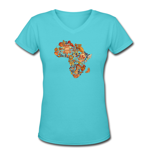 Women's V-Neck T-Shirt Tribal Art - aqua